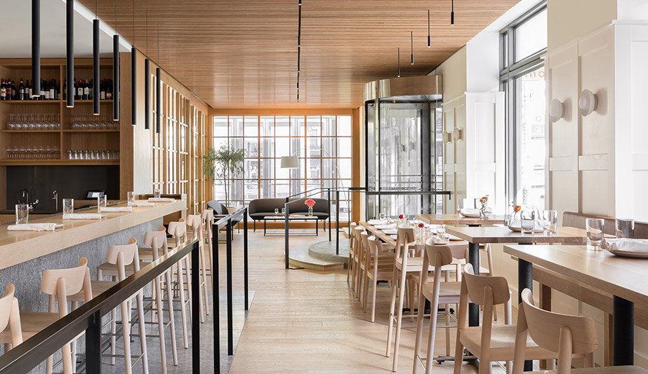 The bar in Seattle restaurant Cortina, designed by Heliotrope Architects