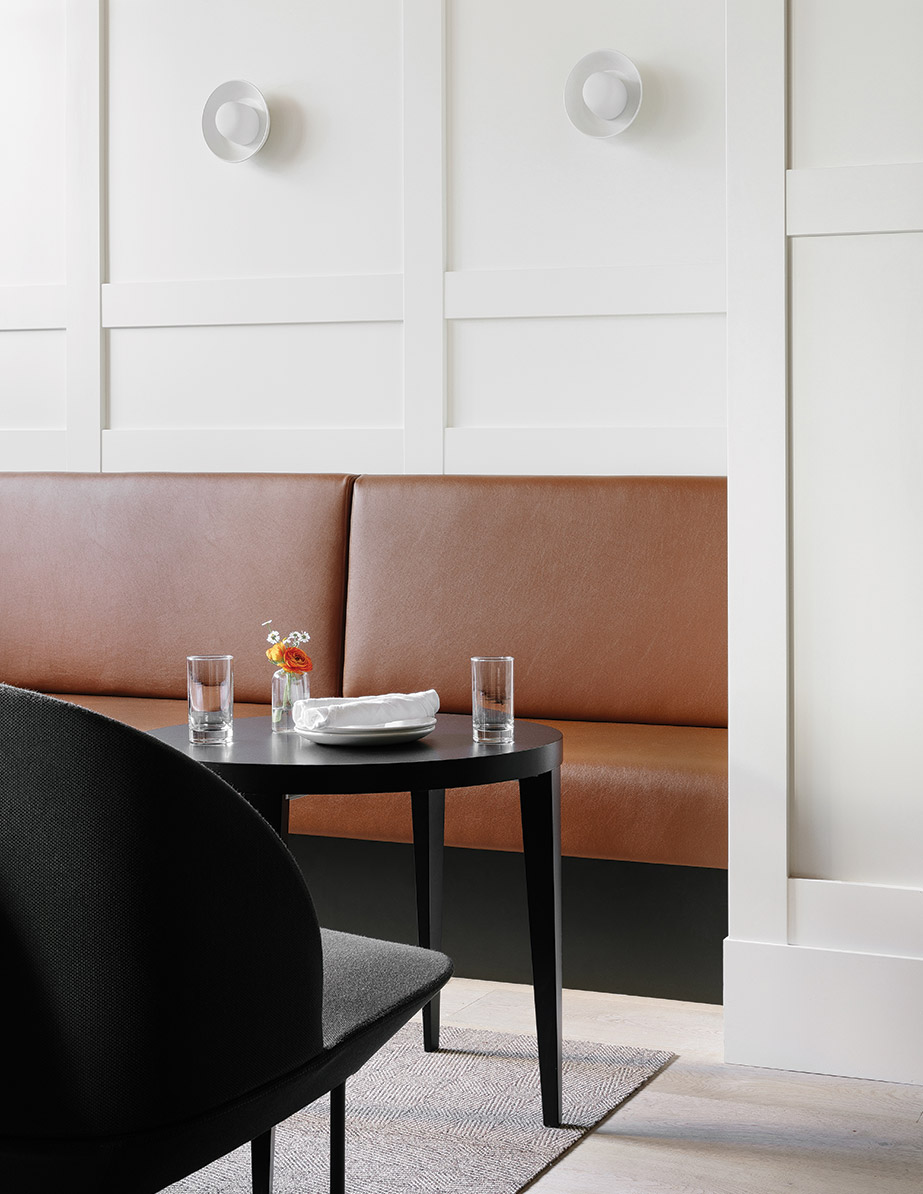 Seating in Seattle restaurant Cortina, designed by Heliotrope Architects