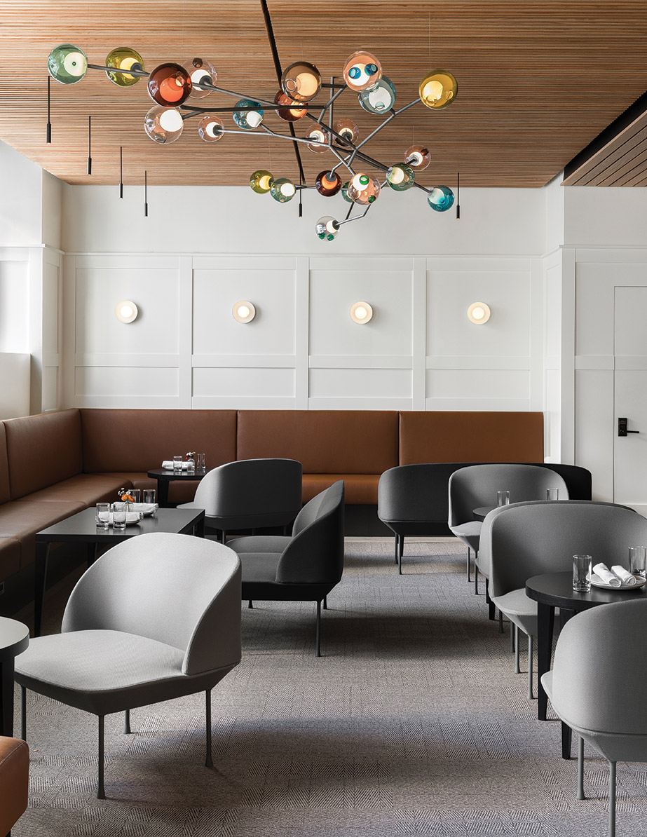 The Bocci chandelier in Seattle restaurant Cortina, designed by Heliotrope Architects