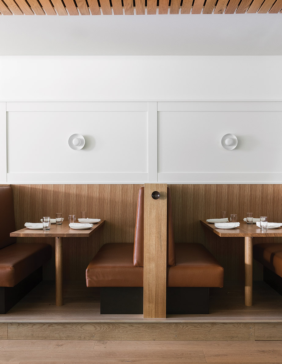 The booths in Seattle restaurant Cortina, designed by Heliotrope Architects