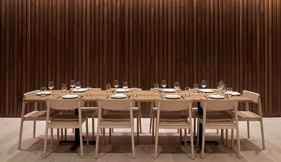 The stile and rail panelling in Seattle restaurant Cortina, designed by Heliotrope Architects