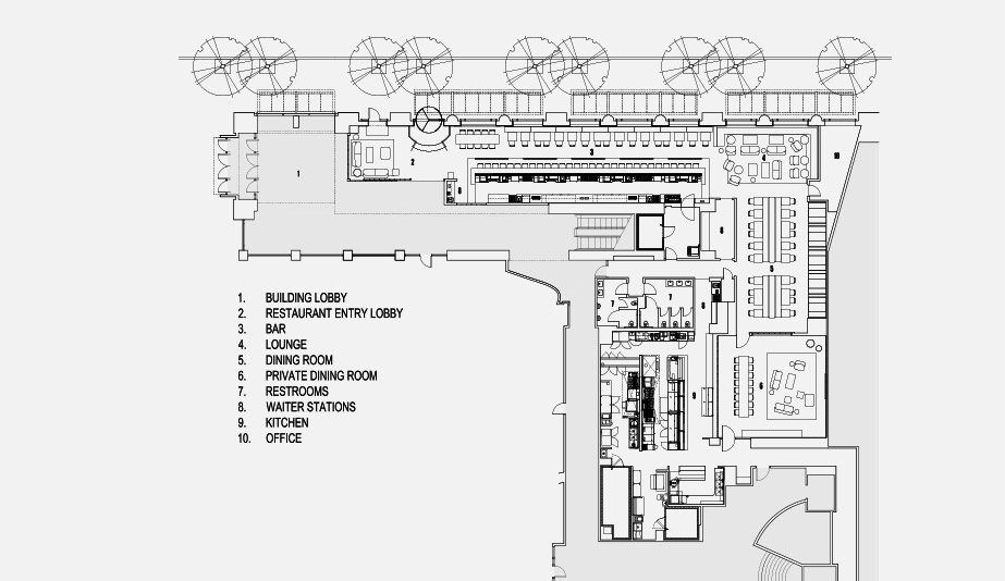 The floor plan in Seattle restaurant Cortina, designed by Heliotrope Architects