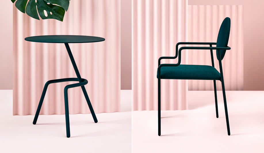 The VO table and RO chair from the O Collection by Toronto design studio Hi Thanks Bye.