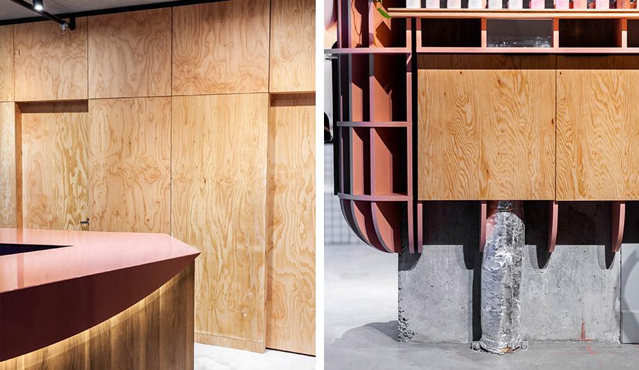 The oak panels lining Ménard Dworkind Architecture & Design's Le Hideout