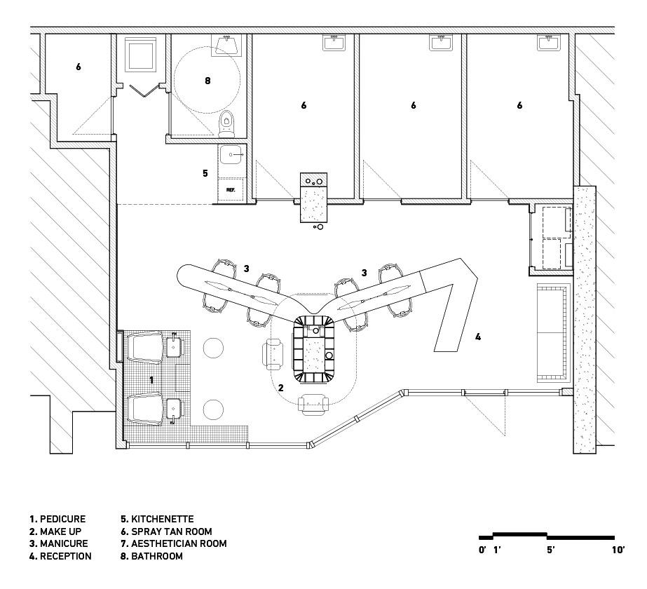The floor plan for Ménard Dworkind Architecture & Design's Le Hideout