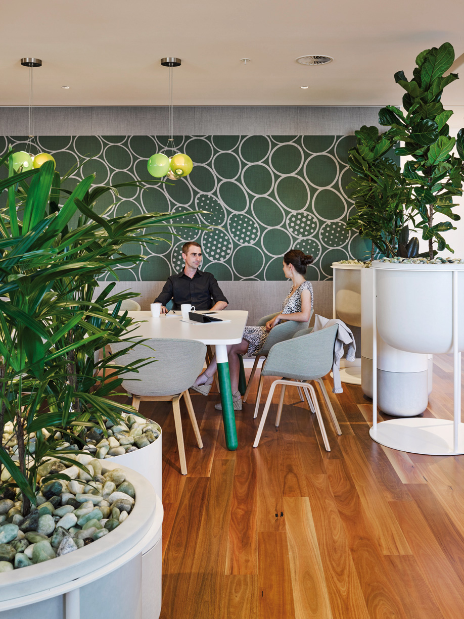 A nature-inspired cafe in 1 William Street, a village-inspired government office building designed by Woods Bagot.
