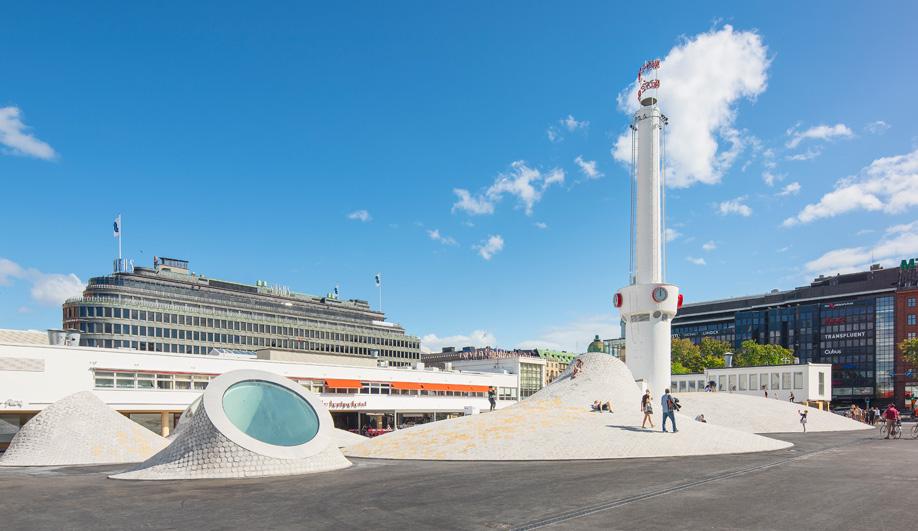A steel clock tower at Helsinki's Amos Rex, designed by JKMM.