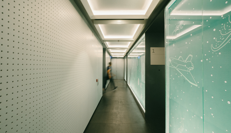 The polished floors and textured ceilings at the Gravity building in Hong Kong