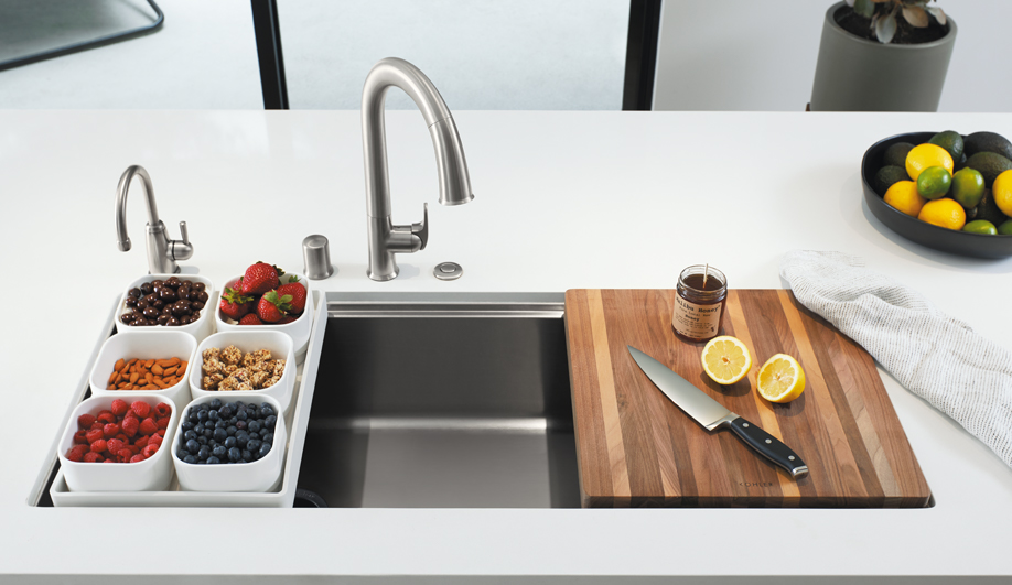 Stages Kitchen Sink and Sensate Touchless Faucet by Kohler