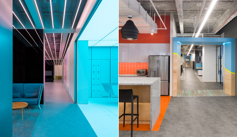 Two Office Interiors that Do Colour Right