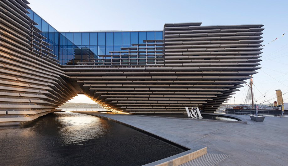 The shallow pools outside Kengo Kuma's V&A Museum in Dundee.