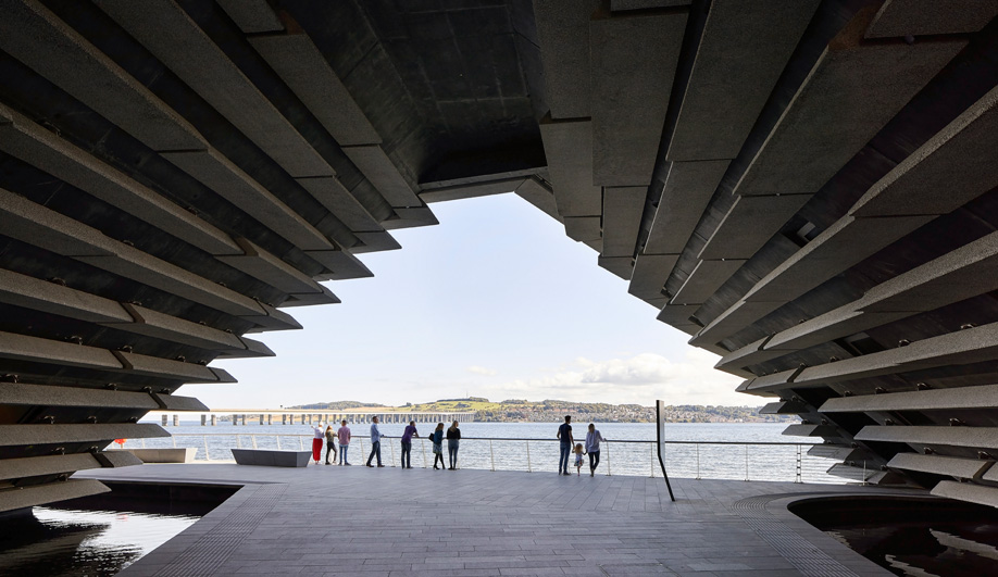 An opening in Kengo Kuma's V&A Museum in Dundee.