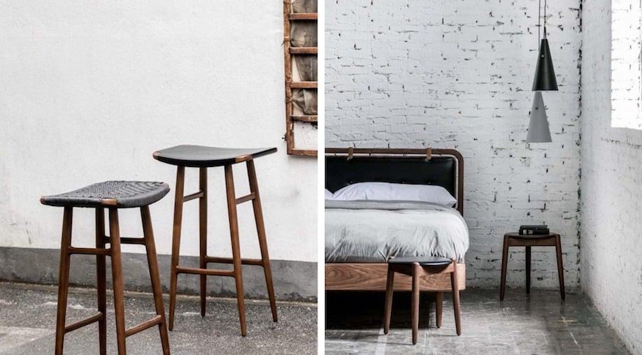 Freja stools, Dawn bed, Yama light, and Wohlert three-legged stool (l-r)
