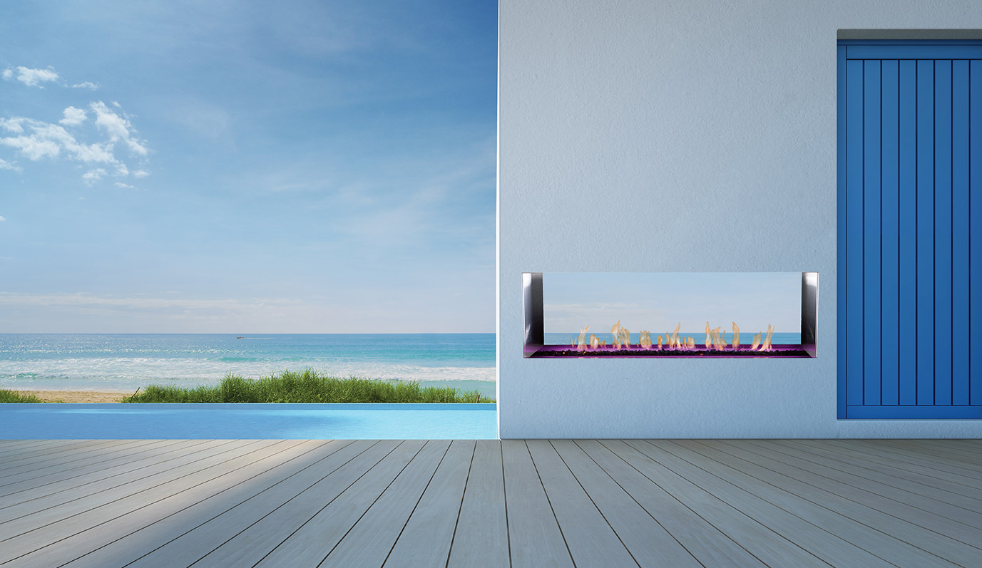 J Series M2 See-Through Outdoor Fireplace by European Home
