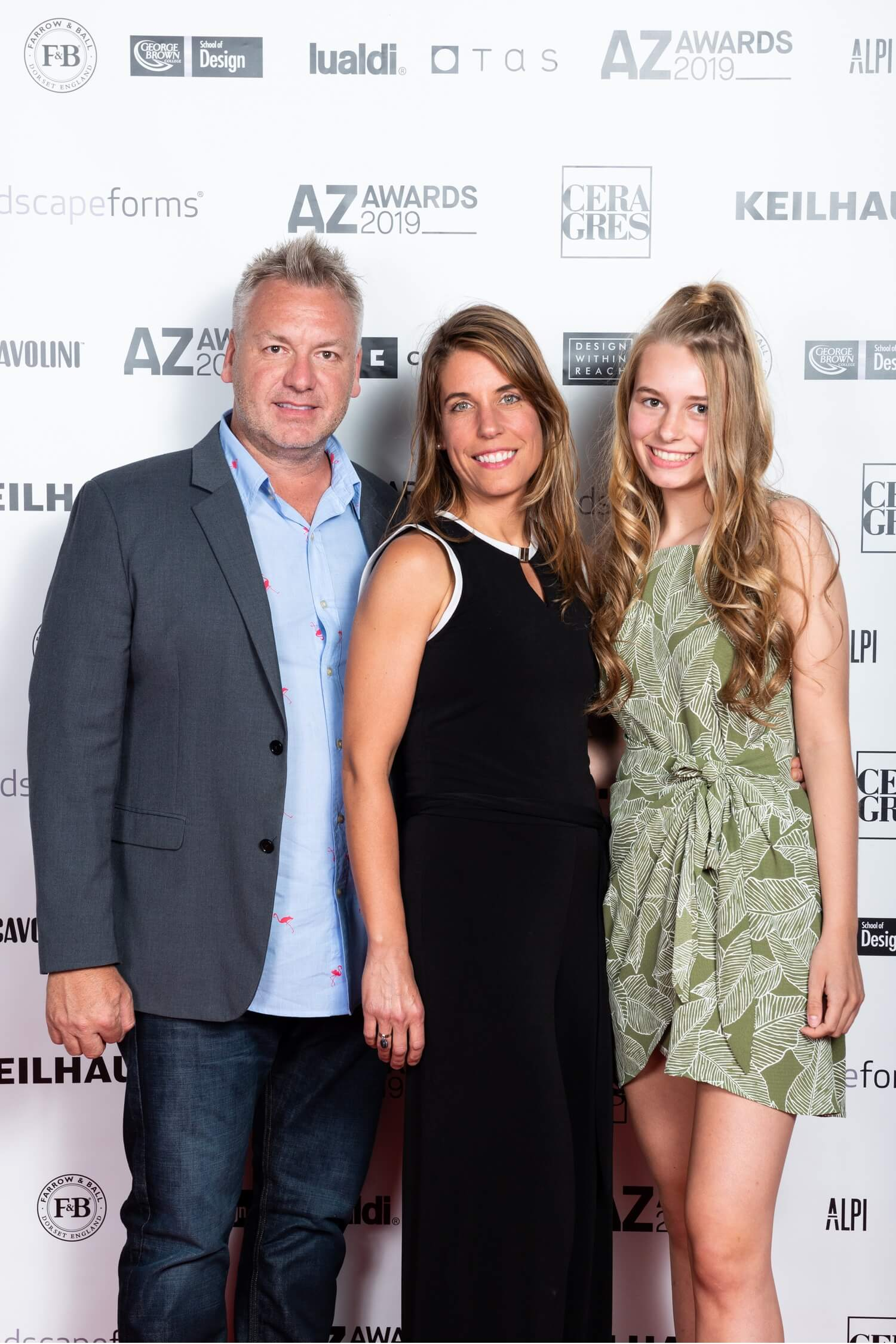 Kirt Martin, Chief Creative Officer at Landscape Forms, with wife Becky and daughter Sydney, AZ Awards 2019: Scenes from the Gala