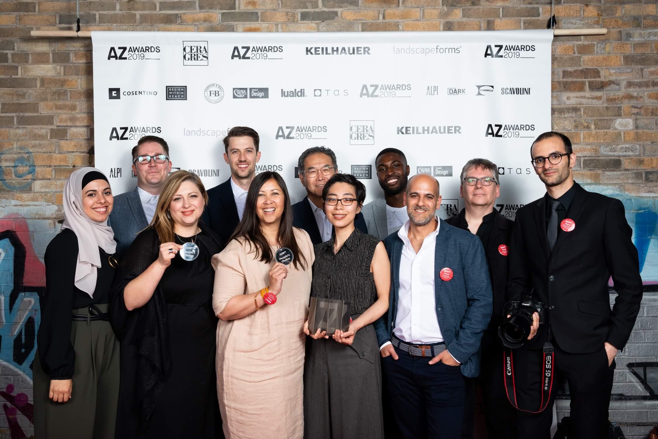 Moriyama & Teshima's full team, celebrating their win for The Arbour, AZ Awards 2019: Scenes from the Gala