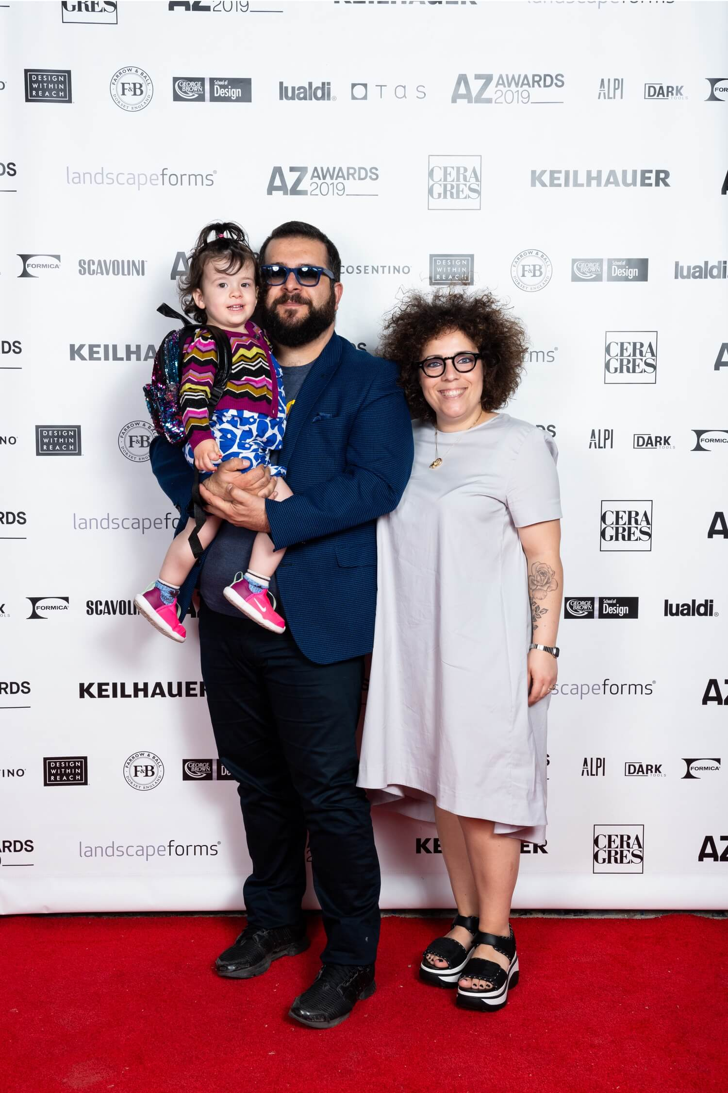 Designers Juri Iaboni and Nanelda Priftaj with their daughter, AZ Awards 2019: Scenes from the Gala