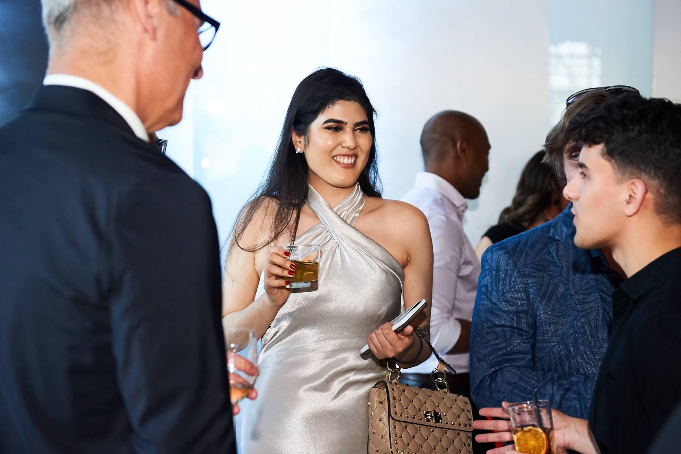 Pre-presentation mingling at the Brick Works. Centre: interior designer Arfa Akhtar, AZ Awards 2019: Scenes from the Gala
