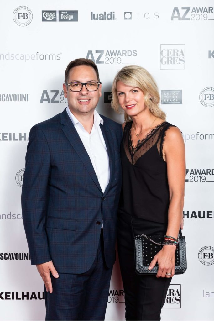 Cosentino's Regional Director of Sales and Distribution for Canada, Philip Eeles with wife Eva, AZ Awards 2019: Scenes from the Gala