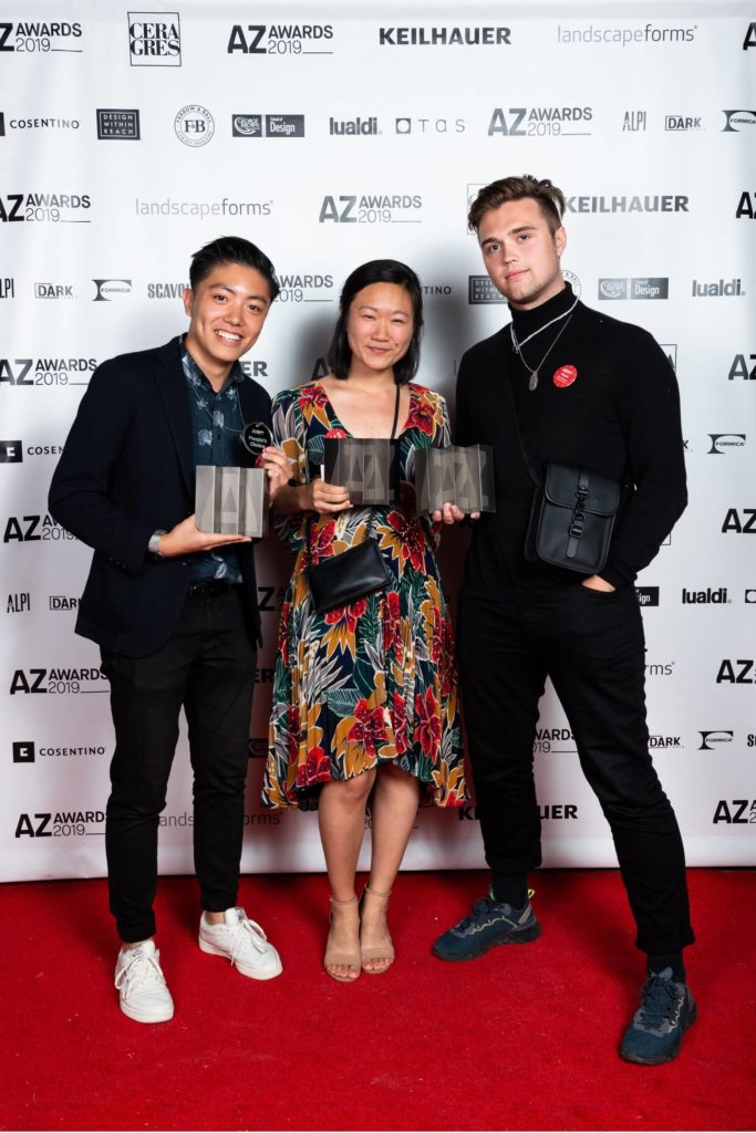 Winning trio: TK Justin Ng (Junior Designer at ALA Architects, winner for Helsinki Central Library Oodi), Liyang Zhang (A+ Student Award winner for Geographies of Urban Filth) and Max Schramp (representing Open Architecture, winners for U.C.C.A. Dune Art Museum), AZ Awards 2019: Scenes from the Gala