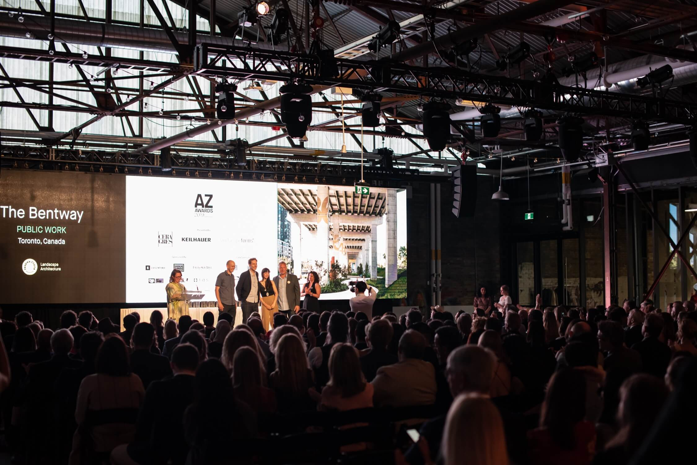 The team at Public Work takes the stage to claim their trophy for The Bentway, AZ Awards 2019: Scenes from the Gala