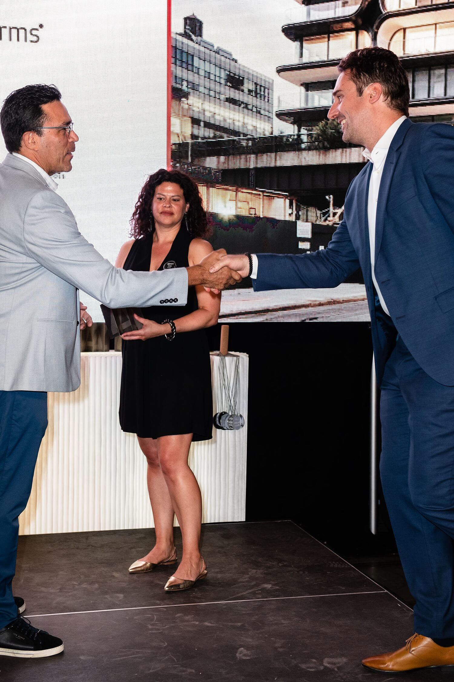 Johannes Schafelner of Zaha Hadid Architects in London accepts the AZ Award for his firm's 520 West 28th residential building in New York, AZ Awards 2019: Scenes from the Gala