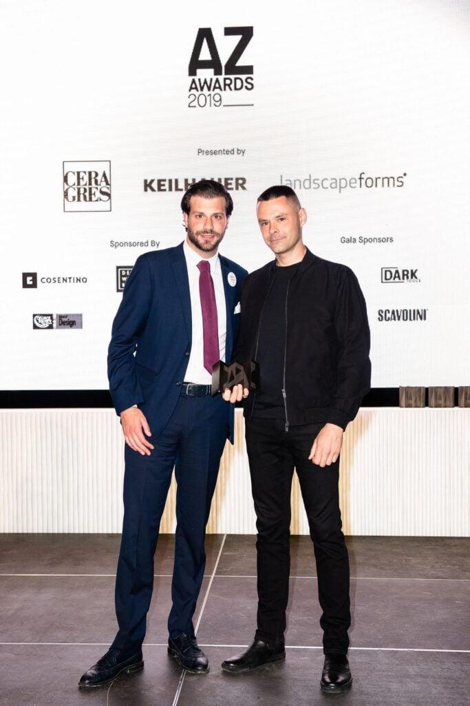 Alberto Pomello of Lualdi presents Montreal architect Jean-Maxime Labrecque with an AZ Award for Infinite Buildings, AZ Awards 2019: Scenes from the Gala