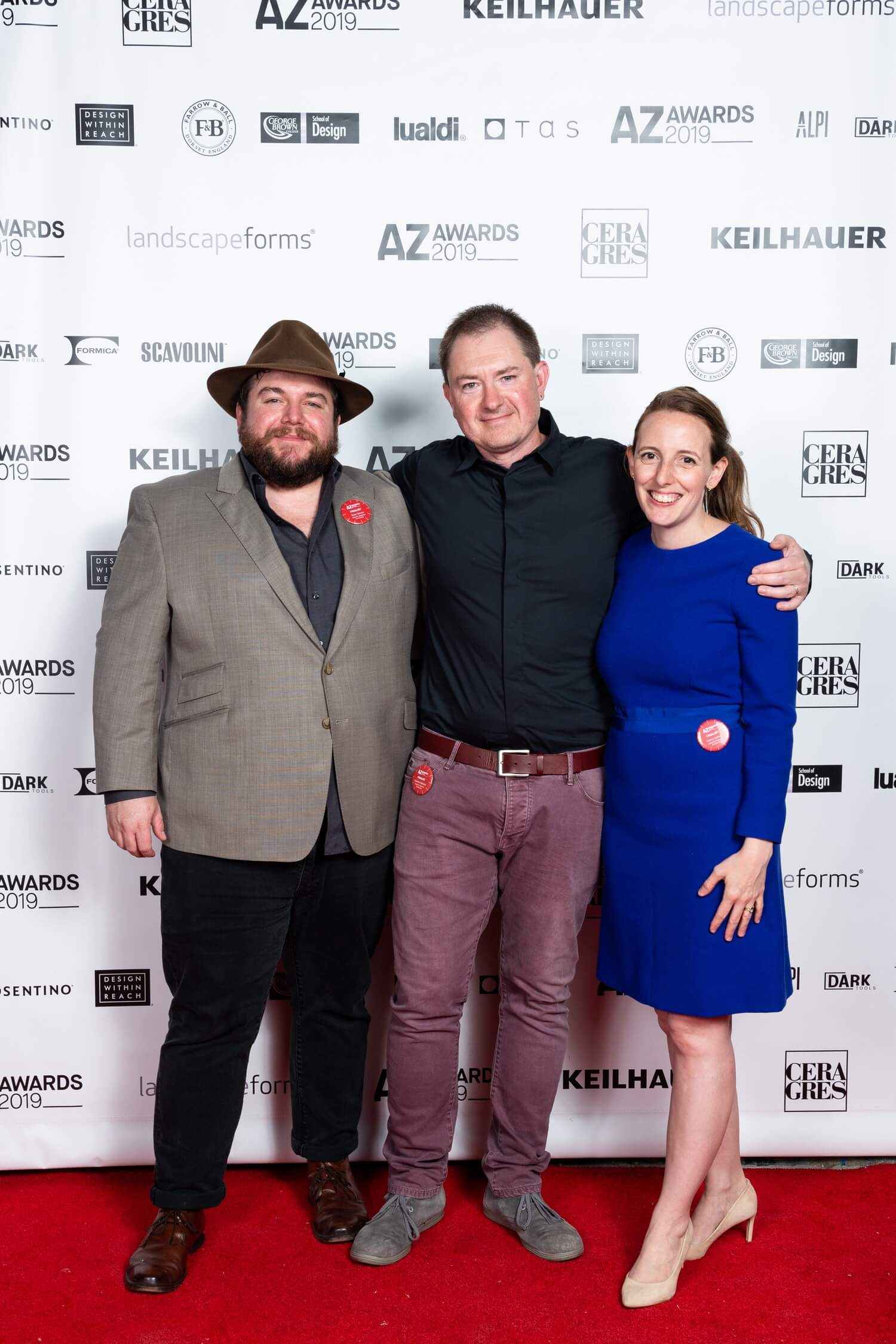 Ryan Sarros, Vladimir Radutny and Fanny Hothan of Chicago firm Vladimir Radutny Architects, which picked up an AZ Award and People's Choice for the Michigan Loft interior, AZ Awards 2019: Scenes from the Gala