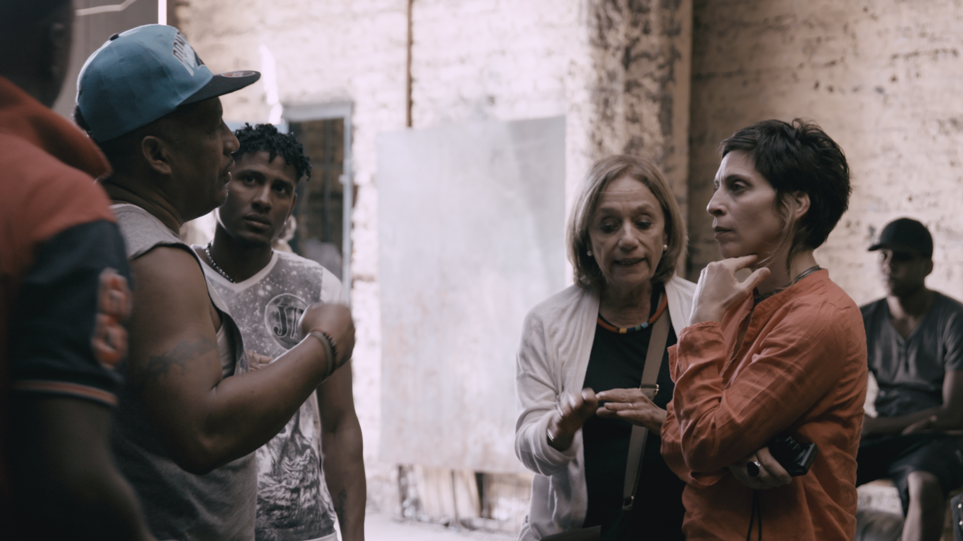 Farha in conversation with Barcelona residents.