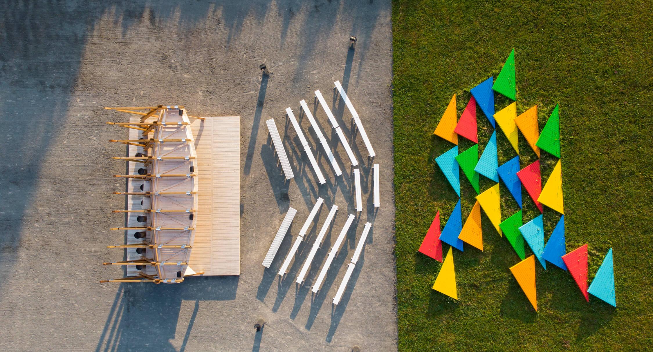Aerial view of Ici et ailleurs, International Garden Festival