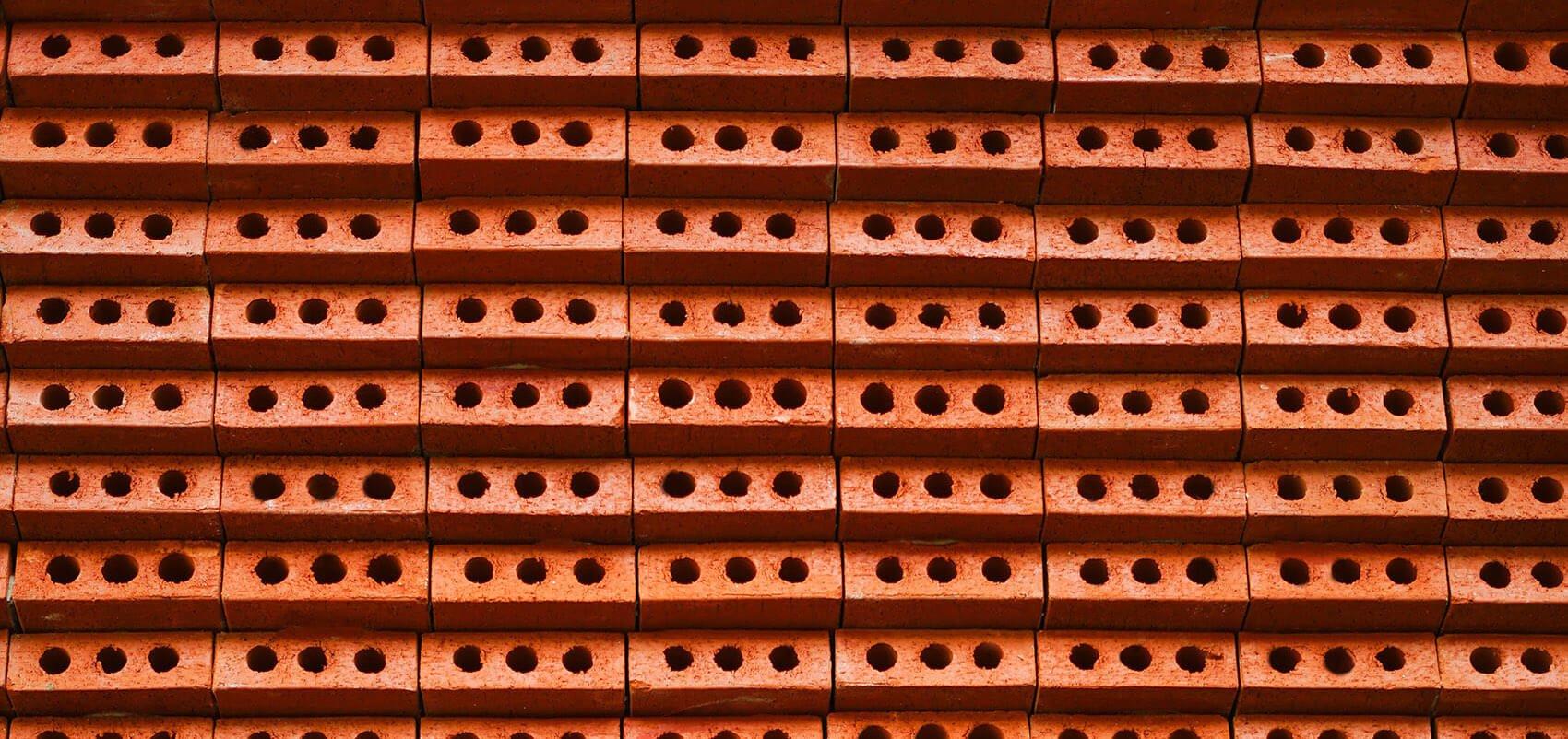 A close-up view of the bricks at JPG coffee & LAB burger
