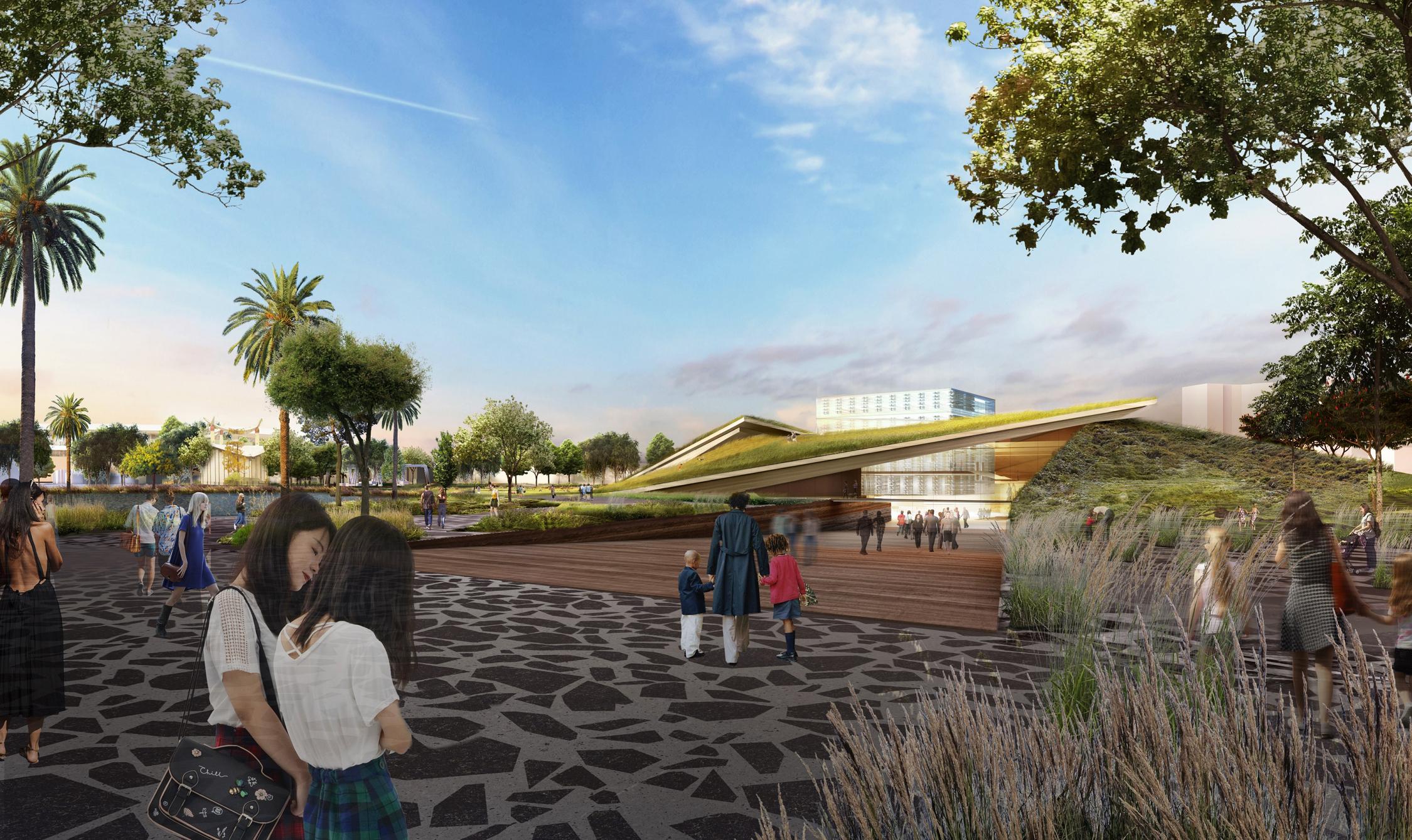 Plaza view of Diller Scofidio + Renfro's La Brea Tar Pits proposal