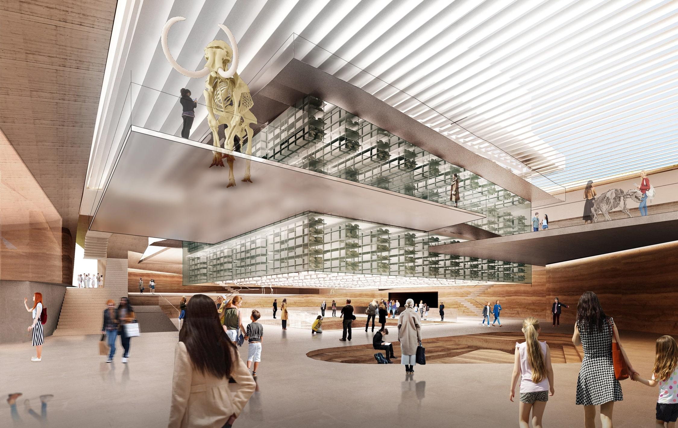 Lobby view of Weiss Manfredi's La Brea Tar Pits proposal