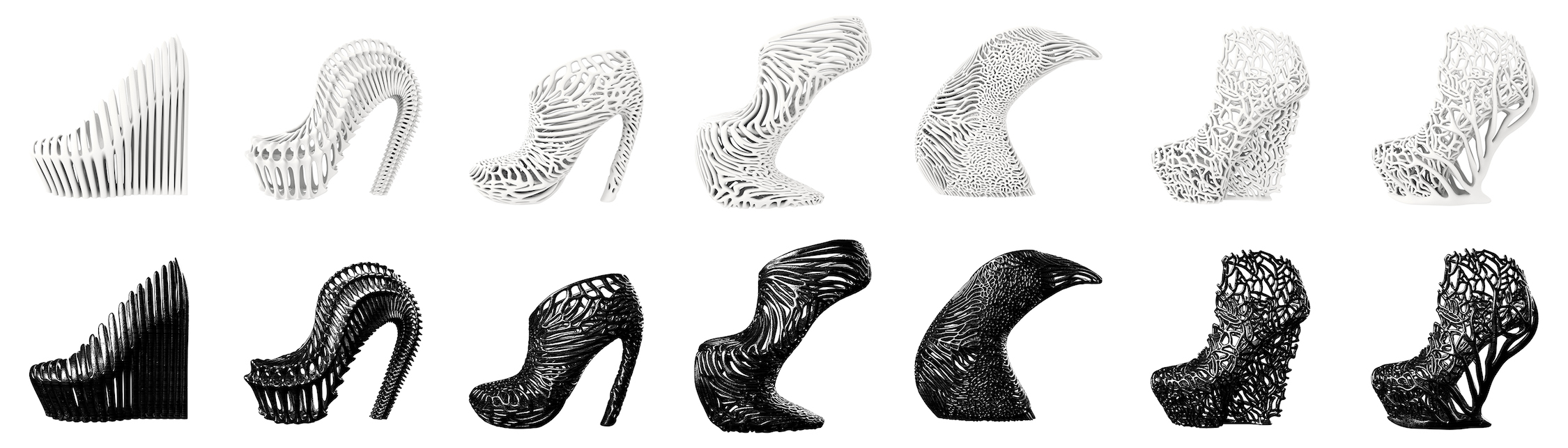 an assortment of 3D printed shoes