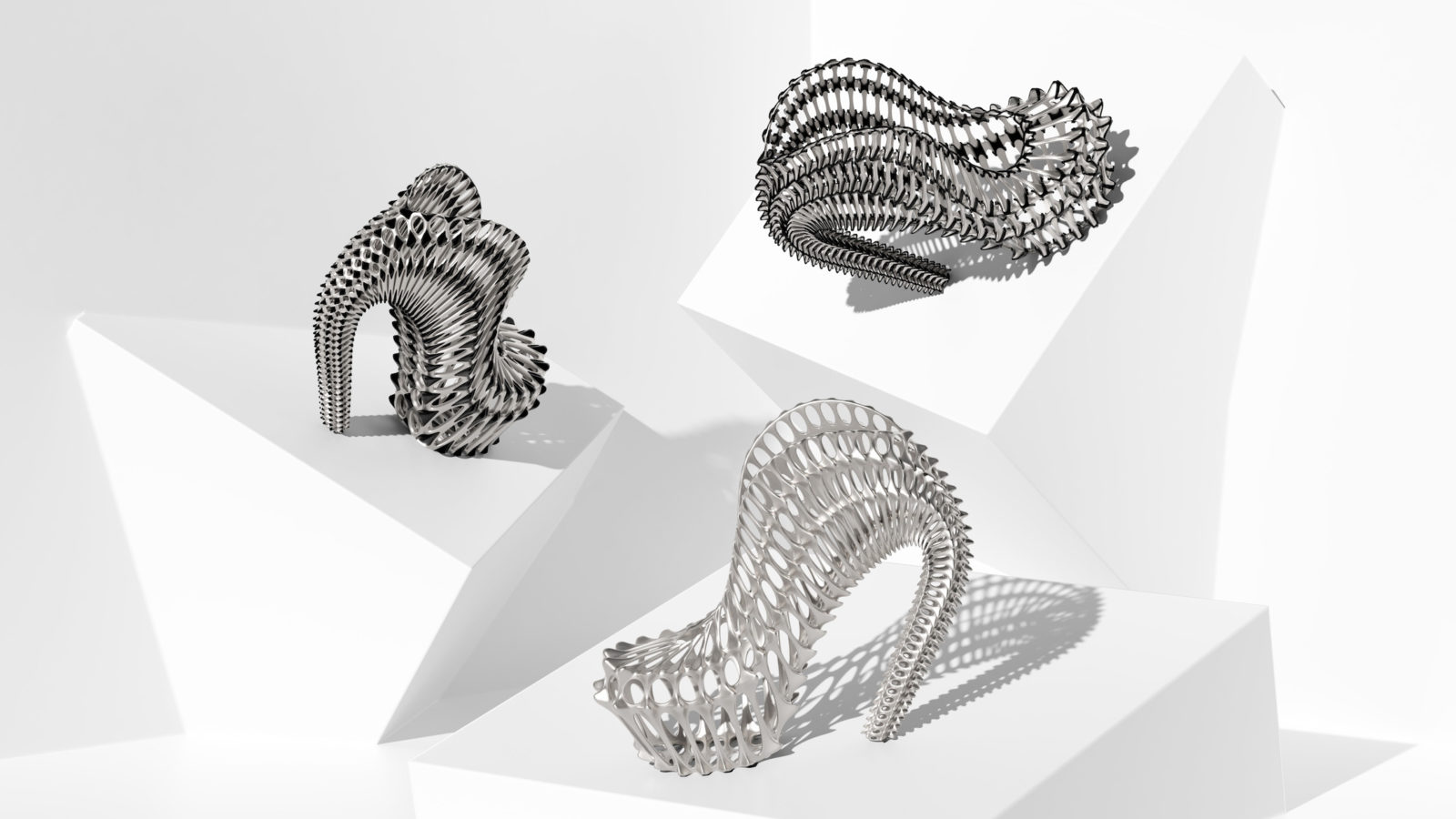 an assortment of 3D printed shoes in the Seahorse collection