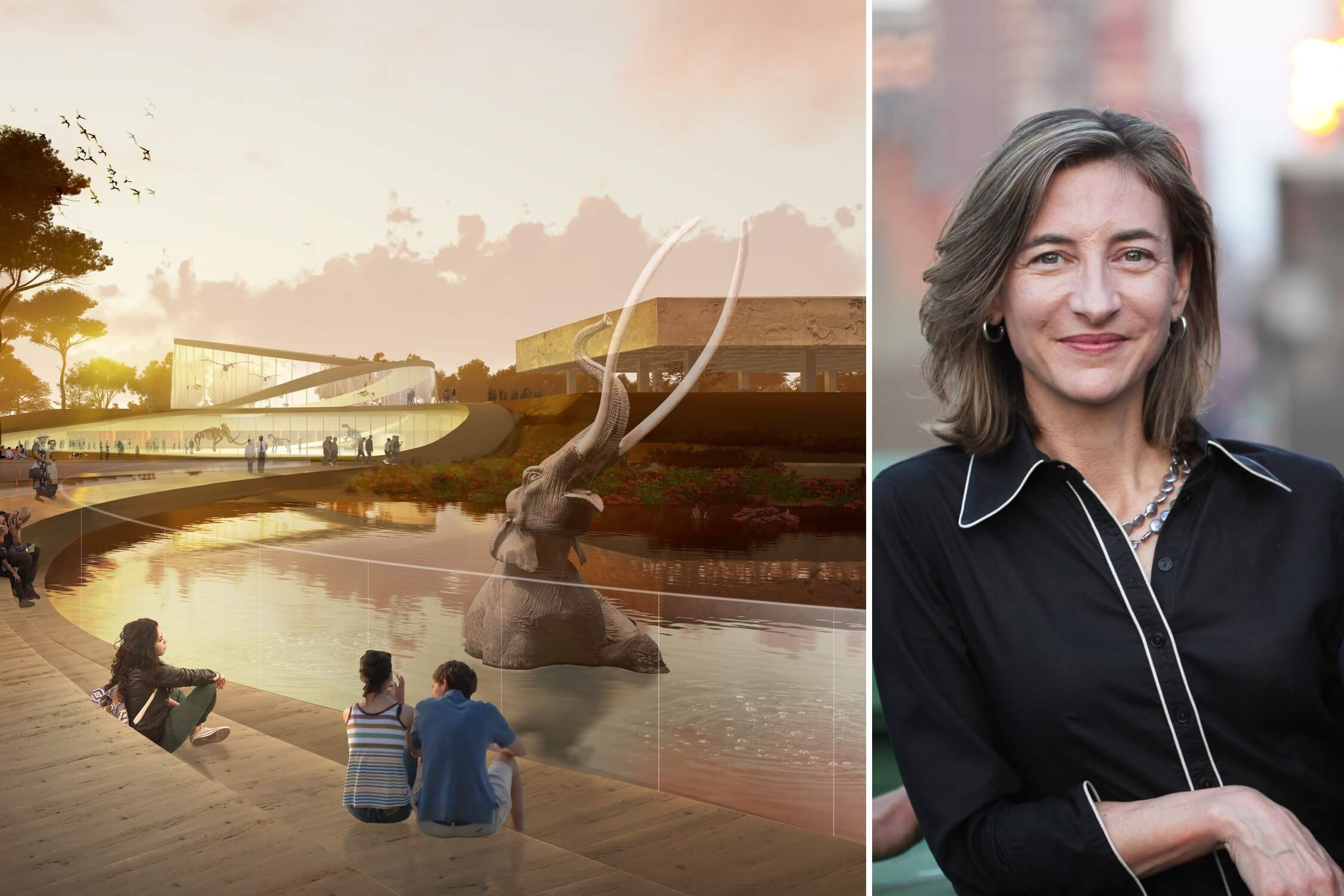 Marion Weiss with her firm's competition-winning vision for the La Brea Tar Pits
