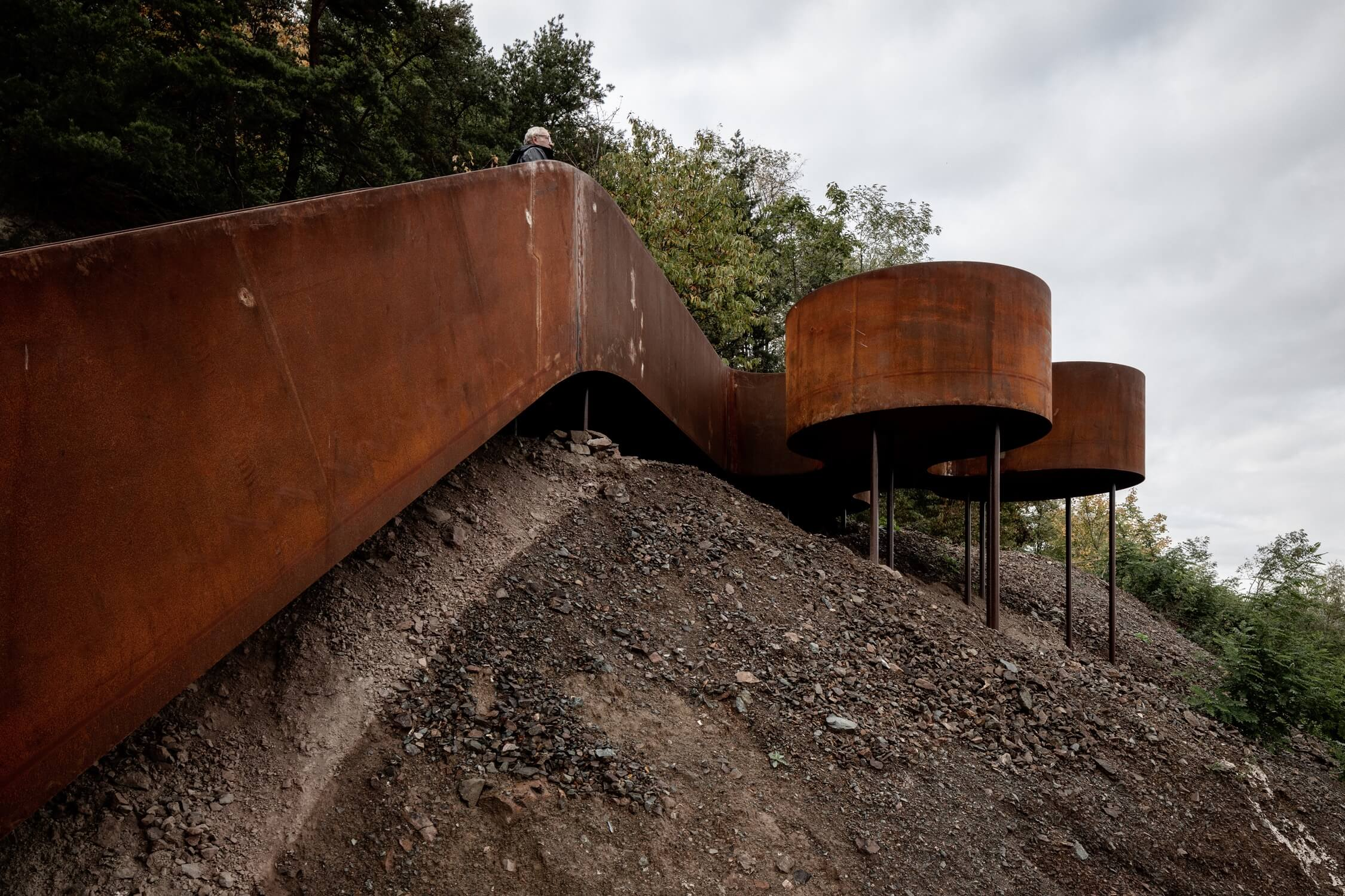 A worm's eye view of the elevated weathering steel lookout