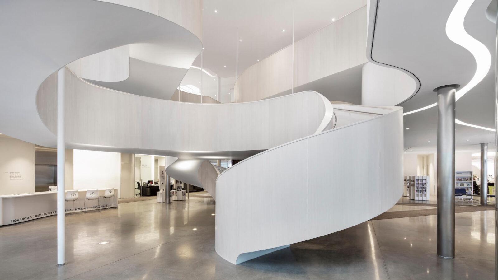 Drummondville Public Library central atrium, designed by Chevalier Morales
