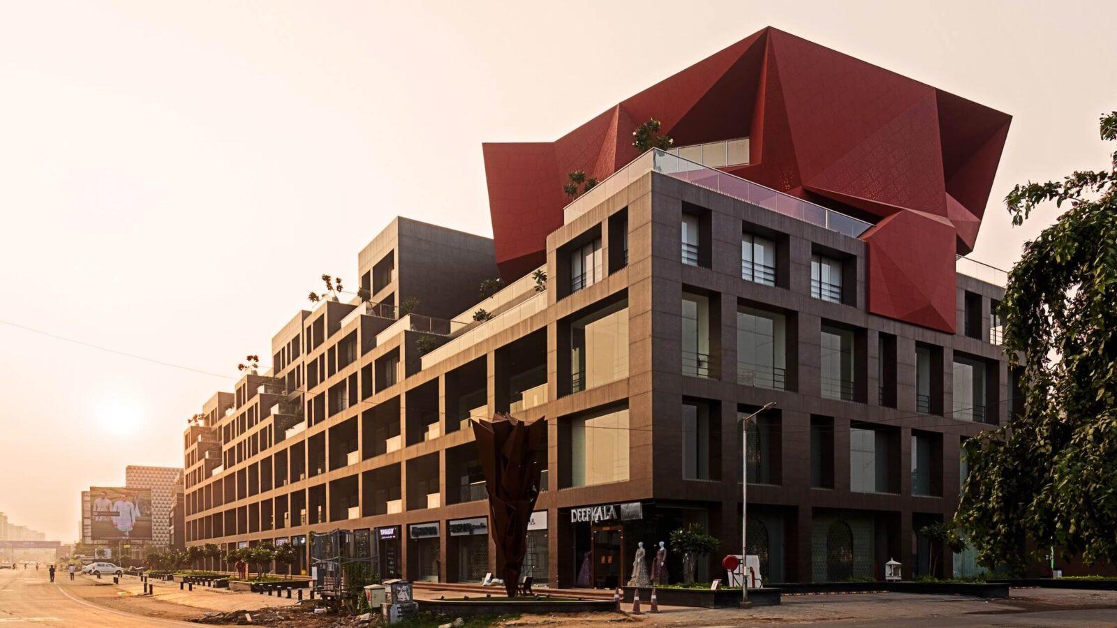 A sunset view of Stellar by Sanjay Puri Architects