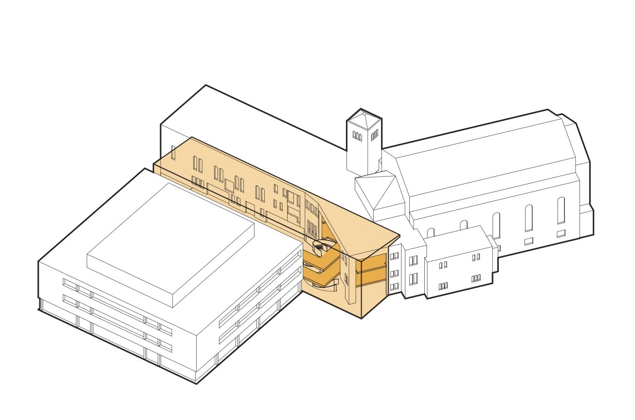 A diagram of the site showing the new atrium (orange) in between the 1960 school building (left) and the 1938 sanctuary (right).