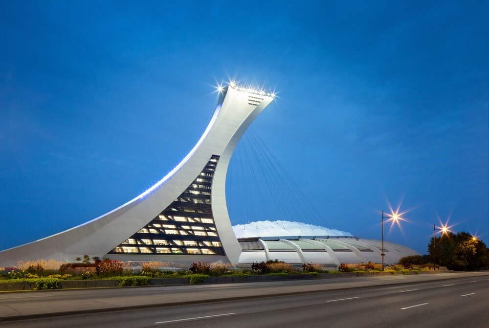 A view of the Montreal Olympic Tower and stadium from Sherbrooke Street.