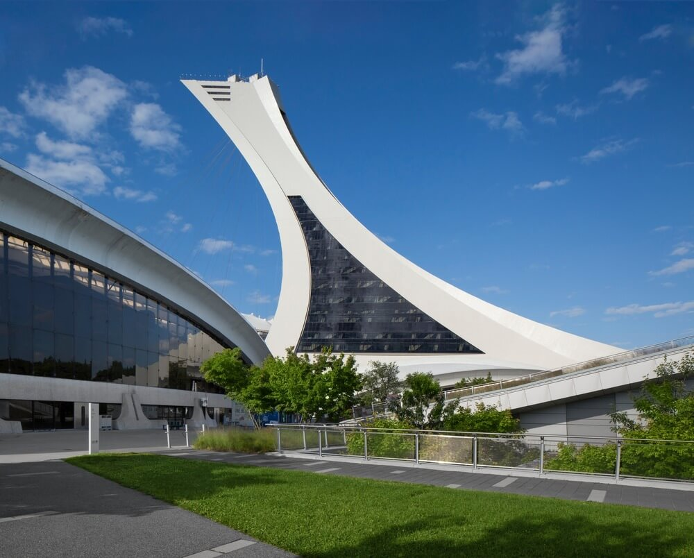 A view of the new glazing on the Montreal Olympic Tower