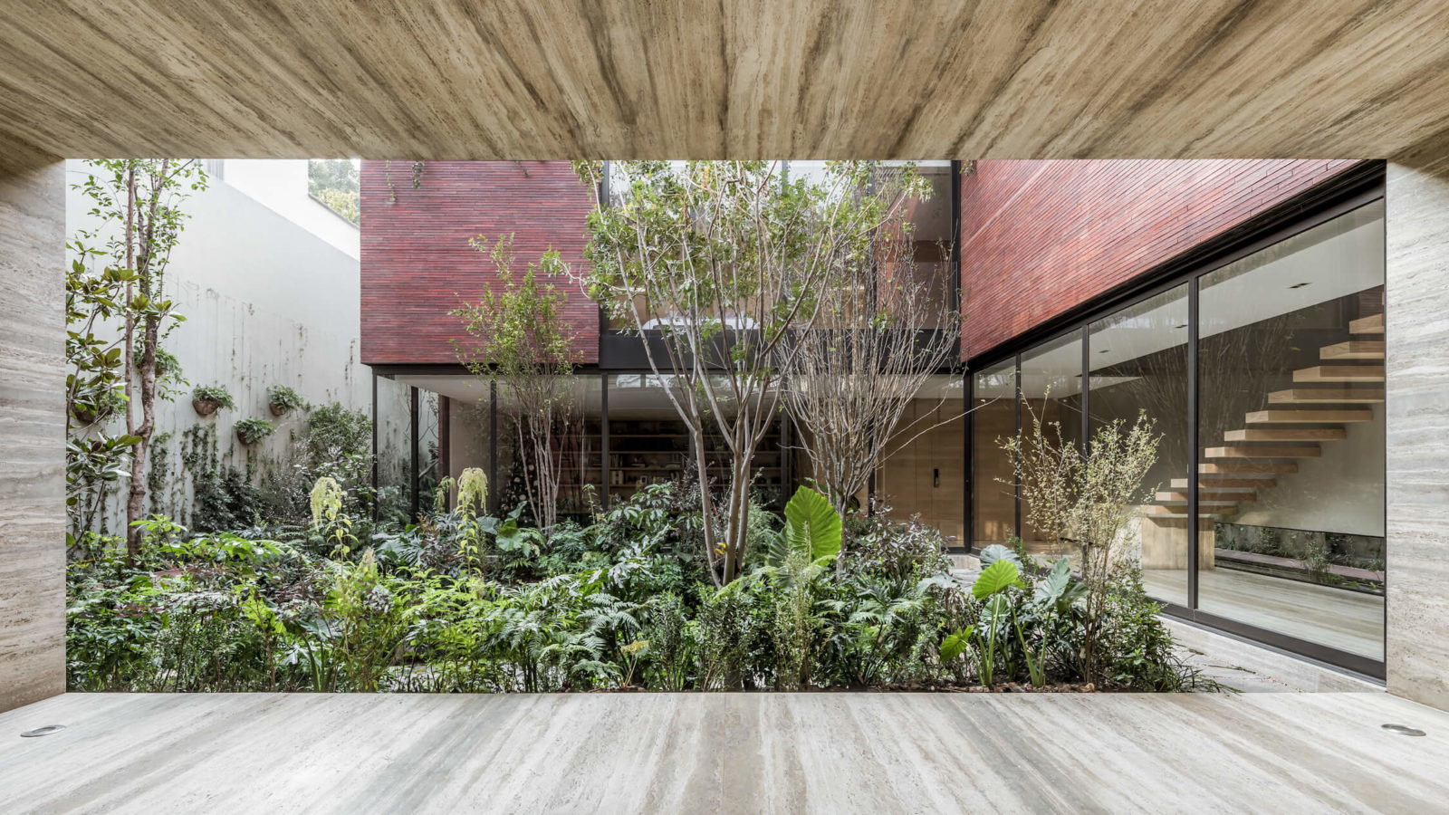 Looking into the courtyard, designed by Esrawe Studio