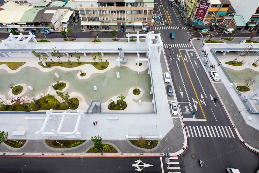 A bird's eye view of the Tainan Spring urban lagoon, designed by MVRDV.