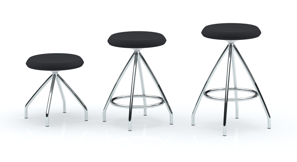 Sky Stool by Keilhauer, shown in a variety of sizes with black seat finish