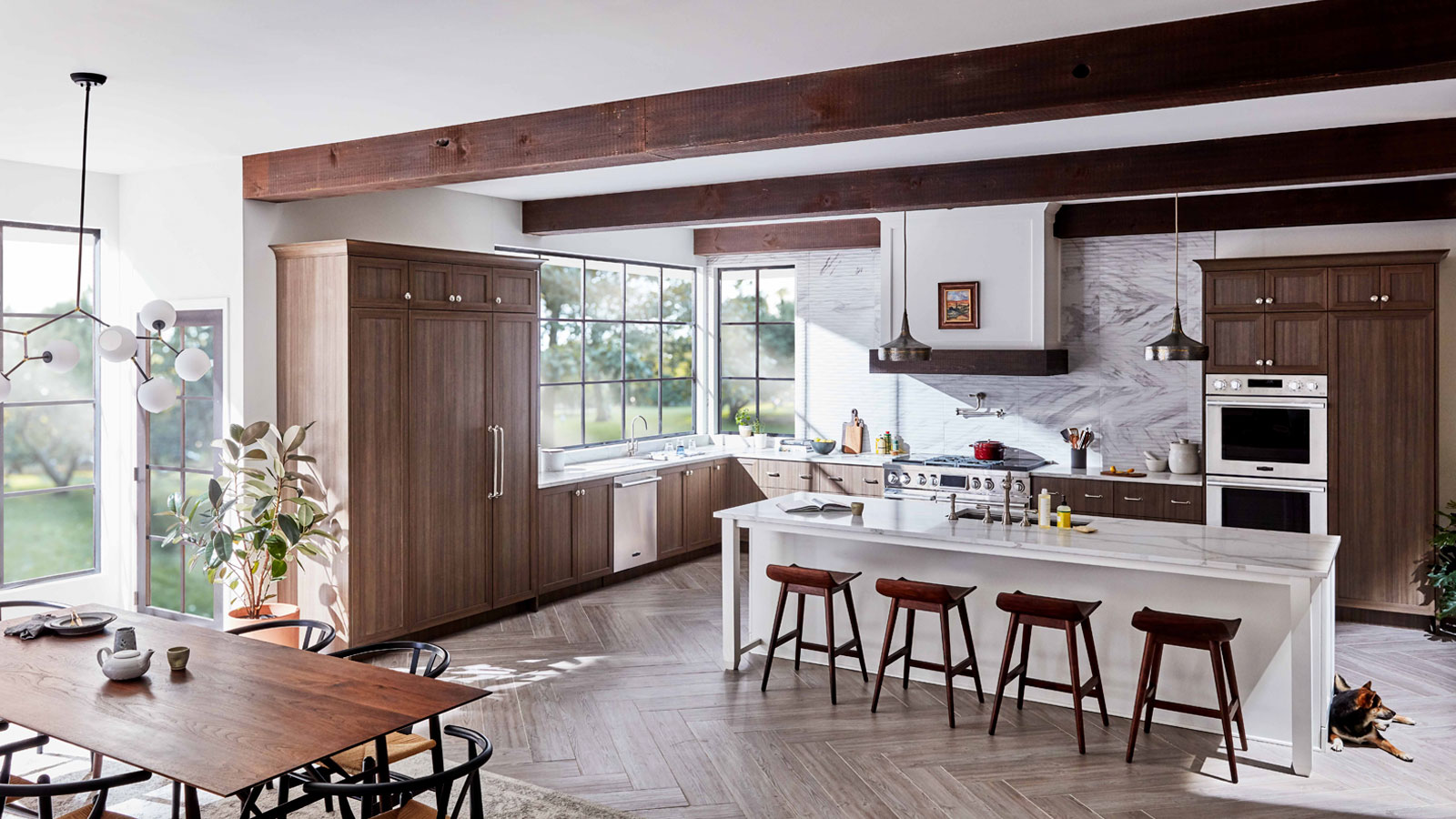 Wide full view of LG Signature Kitchen Country Lifestyle, with dining area
