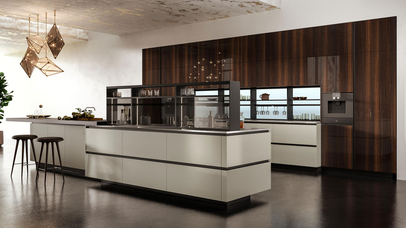 Snaidero kitchen with E-Wall and geometric hanging lights