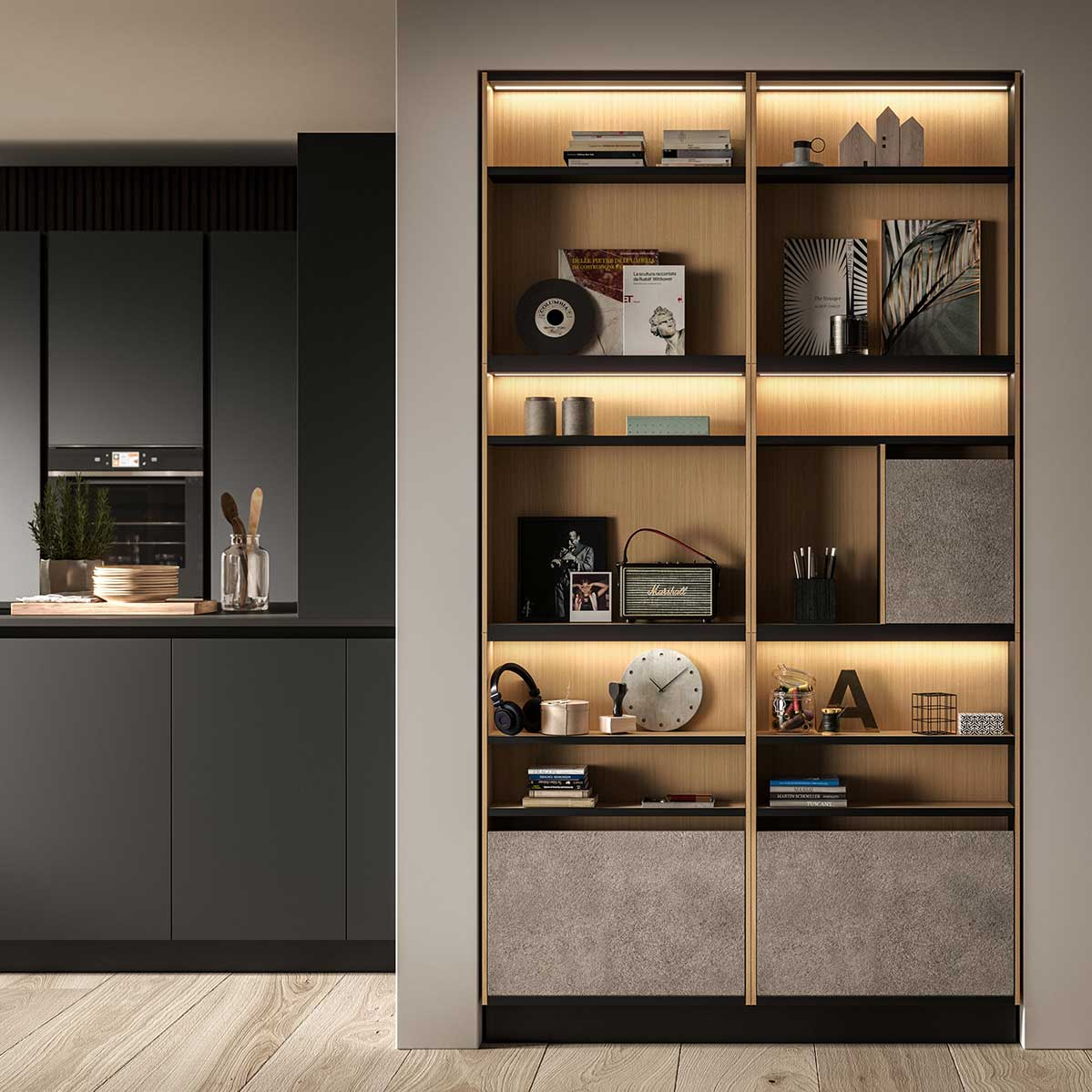 Wall mounted living area cabinet. Front view. Snaidero E-Wall. System S.