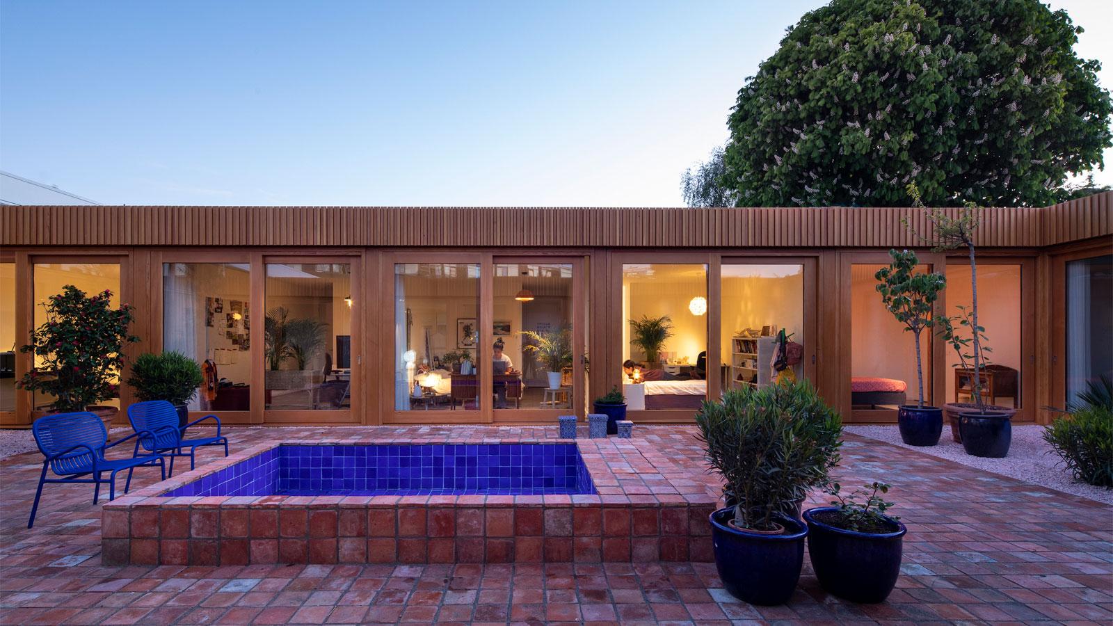 Villa Stardust, courtyard - night time: Moroccan riad inspired Villa Stardust by MVRDV