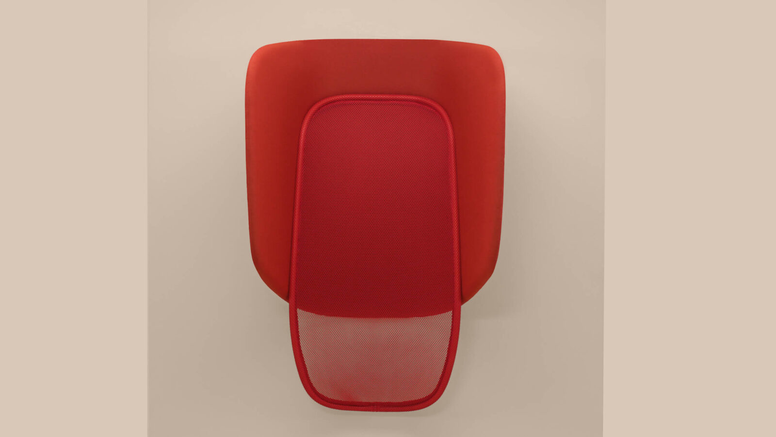 Antoine Lesure and Marc Venot's Lapso design is pictured. It is used as a standing resting station. The item pictured is a deep red colour.